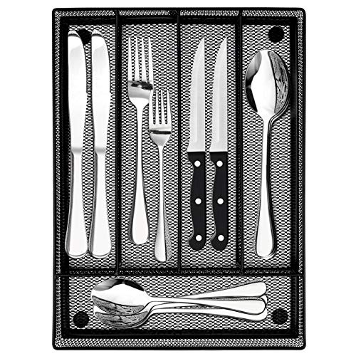 LIANYU 20-Piece Silverware Set with Drawer Organizer, Plus 4 Steak Knives, Stainless Steel Flatware Cutlery Set, Modern Eating Utensils Tableware Service for 4, Dishwasher Safe