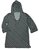Macbeth Collection Beach Candie Womens Hooded Pullover Swim Cover-Up Tunic Top (Small, Black White Pattern)