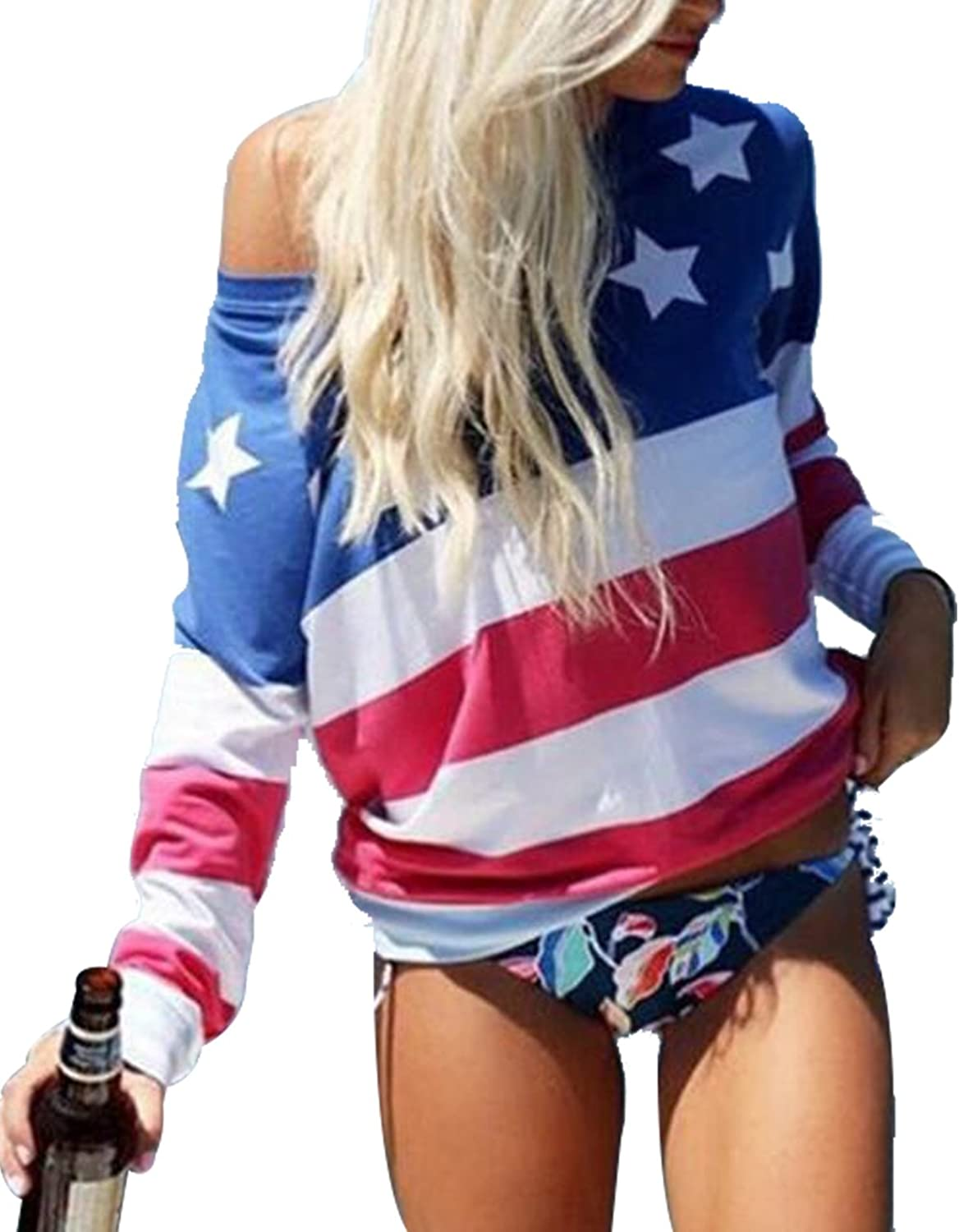 MAXIMGR Women's USA Flag Long Sleeve Sexy Off The Shoulder Casual Top Stripe Patchwork Blouse Shirt