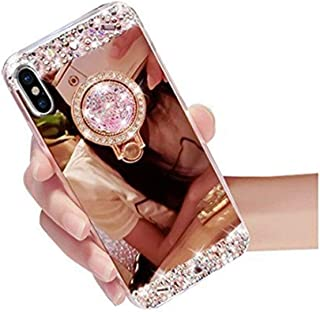 iPhone SE Case,Inspirationc Crystal Rhinestone Mirror Glass Case Bling Diamond Soft Rubber Makeup Case for iPhone 5/5S/SE with Detachable 360 Degree Ring Stand--Rose Gold