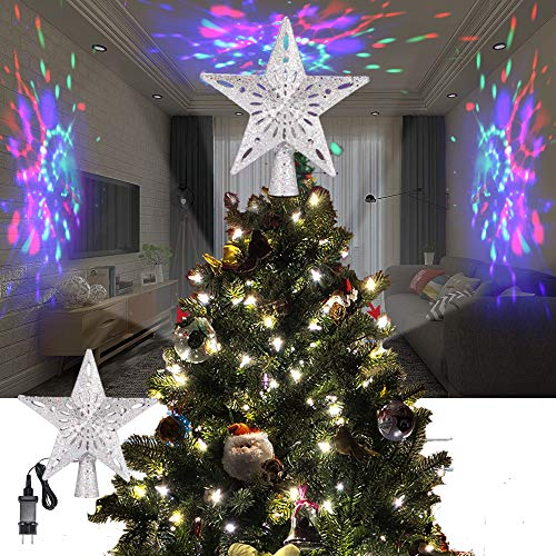 ALLOMN Iluminación Navideña, Adorno de árbol de Navidad Proyector de Luz Brillo 3D Iluminado Estrella Árbol Sombrero de Copa con LED Ajustable Cable de 3m, Enchufe EU (Raya RGB)