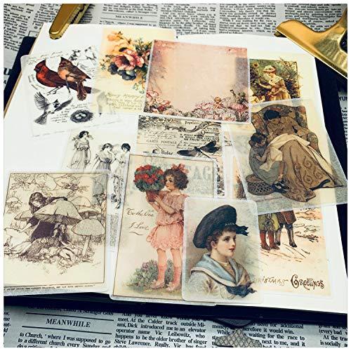 Handzeichnung Aquarell Retro Handbuch Material Washi Papieraufkleber Person Gebrauchte Buchseiten 12St