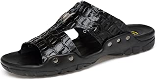 Sumuzhe Cool and comfortable Men's Slippers New Casual Breathable Soft Bottom Anti - skid Cow Leather Large Size Beach Sandals Summer must (Color : Black, Size : 49 EU)