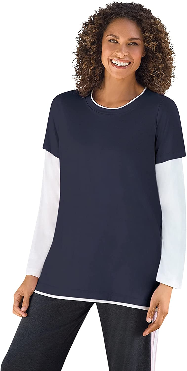 Woman Within Women's Plus Size Layered-Look Crewneck Tee Shirt