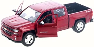 Motor Max 2017 Chevy Silverado 1500 LT Z71 Crew Cab Pick-Up Truck, Candy Red 79348/16D - 1/24 Scale Diecast Model Toy Car but NO BOX