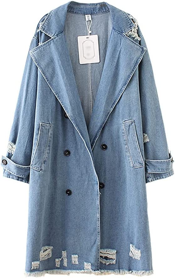ZSQAW Large Size Denim Trench Coat Women Long Windbreaker Double-Breasted Suit Collar Jeans Coats Female Hole Loose Casual Tops (Color : Blue, Size : 4XL Code)