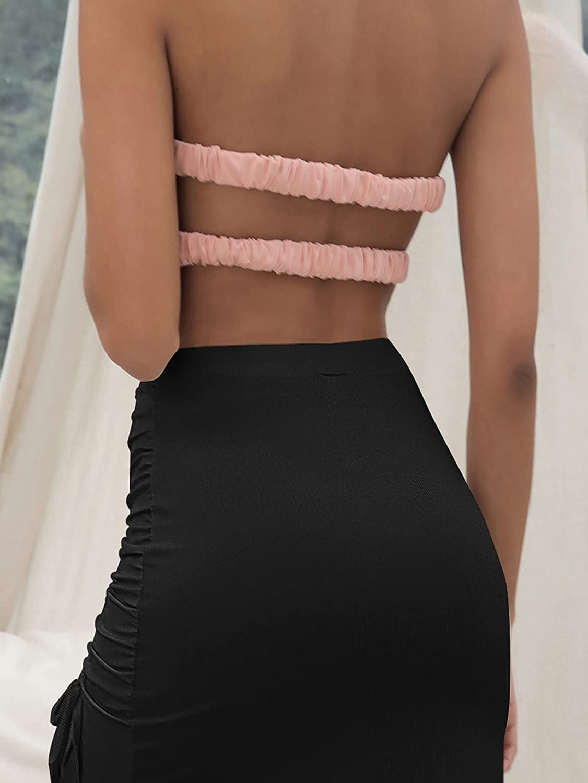 WDIRARA Women's High Waist Side Ruched Bodycon Casual Drawstring Skirt