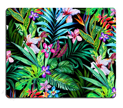 Colorful Tropical Leaf Mousepad Mat - Beautiful Design - Leaves Pink Blue Purple Green - Rectangle Mouse pad