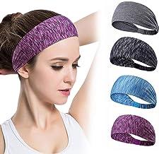 Sports Headband,3 Pack Printing Running Headband Elastic Athletic Hairband Non-slip Moisture Wicking Wide Hair Band Work-O...