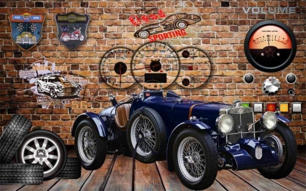 3D Silk Wallpaper Vintage Car Tire Shop Max 88% OFF Bar Manufacturer regenerated product Brick Ktv Custo Wall