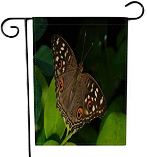 EMMTEEY Holiday Garden Flag Double Sided Burlap Decoration 12.5x18 Inch for Yard Outdoor Decor Garden Flag Picture of Beautiful Colorful Butterfly in Field Small Trees and Warm Light