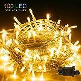 LED Lichterkette, BIGHOUSE 100 LEDs 10M Lichterkette Außen mit Stecker Warmweiß, Wasserdichte IP44...