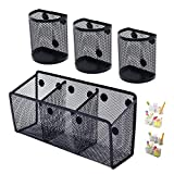 Awesome Office Supplies Black Magnetic Pencil Holder (4-pack) - Strong Magnet Wire Mesh Storage Basket Organizer Organizes Pens, Pencils, Markers for Locker Accessories, Fridge, Cubicle Desk, Offices
