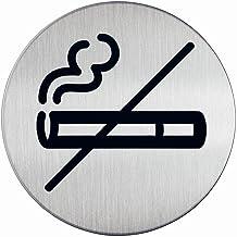 Durable 491123 Zelfklevende pictogram rond met symbool verboden te roken, metaalzilver, heeft een diameter van 83mm