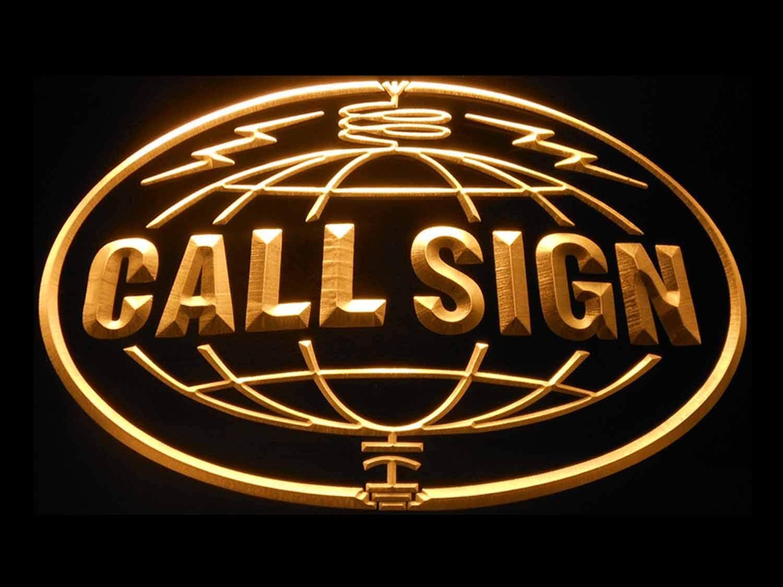 Under blast sales ADVPRO Custom Call Sign World Amateur Yel Radio On Regular dealer Neon Air
