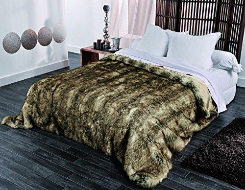 Linder Plaid/Jeté de lit, 82% Acrylique/18% Polyester, Marron, 230 x 250 cm