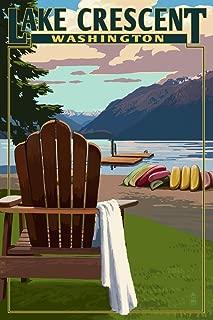 Lake Crescent and Adirondack Chairs - Washington (9x12 Art Print, Wall Decor Travel Poster)