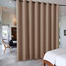 RYB HOME Room Divider Curtain for Living Room/Home Theatre/Inside Porch, Insulated Blackout Vertical Blind Split Room Create Privacy for Loft, Wide 15 ft by Tall 9 ft, Cappuccino, 1 Panel