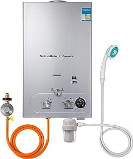 Iglobalbuy 6L LPG Calentador de agua Acero inoxidable Calentador de agua Instant/áneo Caldera Cepillado Con ducha 6L