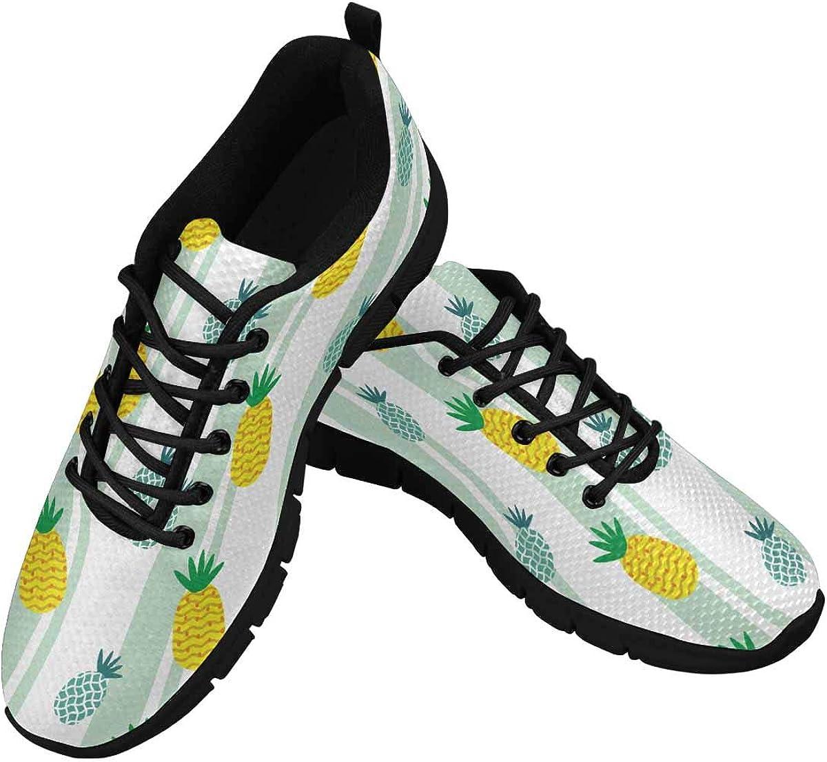 InterestPrint Pineapple Pattern Women's Lightweight Athletic Casual Gym Sneakers