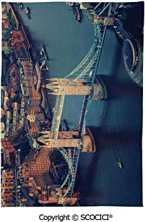 SCOCICI Spring and Easter Dinner Tablecloth,London,London Aerial View with Tower Bridge at Sunset Internatinal Big Old UK British River Decorative,Multicolor