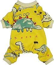 Fitwarm Dinosaur Pet Clothes for Dog Pajamas Cat PJS Jumpsuits Shirts Cotton Yellow