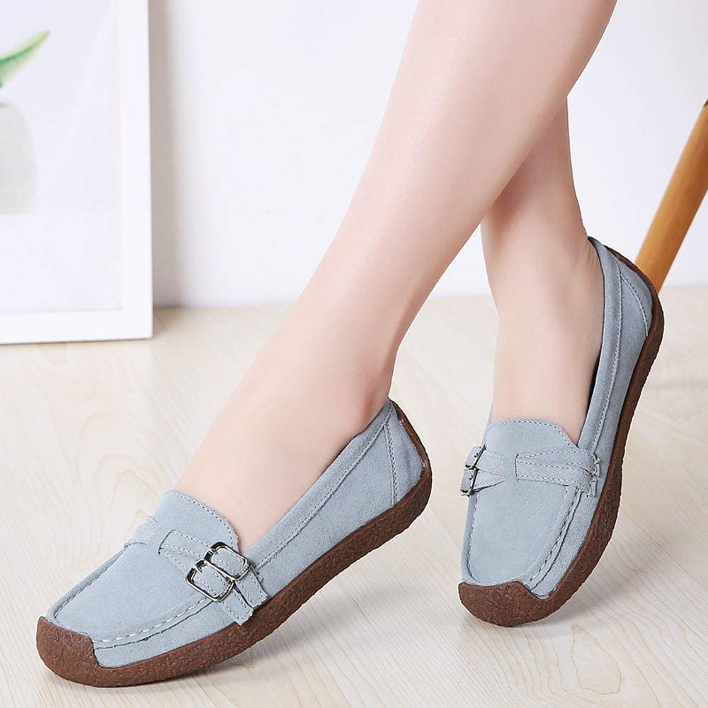 HANBINGPO 2019 Spring Women Flats Shoes Platform Sneakers Slip On Flats Leather Suede Ladies Loafers Moccasins Casual Shoes Women Creepers,7679Blue,4
