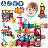 110 PCS Marble Run Magnetic Tiles Building Blocks Toys, Educational Construction STEM Learning Race Track Maze Games Toys Gifts for Toddlers Kids Boys and Girls Age 3+