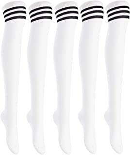 Lian LifeStyle Big Girl's Women's 5 Pairs Over Knee High Thigh High Cotton Boot Socks Size 6-9(White) 5p1c5