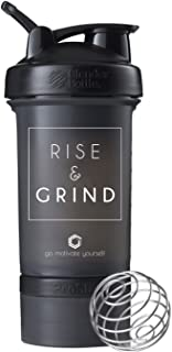 GOMOYO Motivational Quotes on Blender Bottle Brand ProStak Shaker Cup, 22 Ounce Protein Shaker Bottle with BlenderBall Whisk and Two Containers