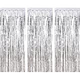 3 Packung Metallic Tinsel Vorhänge, Folie Fringe Shimmer Vorhang Tür Fenster Dekoration für Geburtstag Hochzeit (Silber)