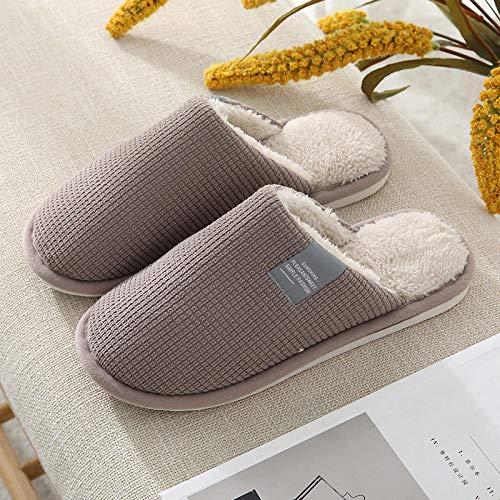 B/H Zapatillas mullidas de Interior de Invierno,Zapatillas de algodón térmicas Antideslizantes, Zapatillas de casa de Interior de Suela Gruesa-Coffee_44-45