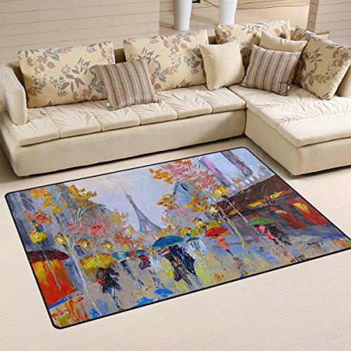 Ingbags Super Doux moderne aquarelle Tour Street Zone Tapis Tapis de salon Chambre à coucher Tapis pour enfants jouer solide Home Decorator Sol Tapis et moquettes 78,7 x 50,8 cm