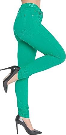 Womens Skinny Fit High Waist Stretchy Jeggings Ladies Zip Up Jeans Pants Legging