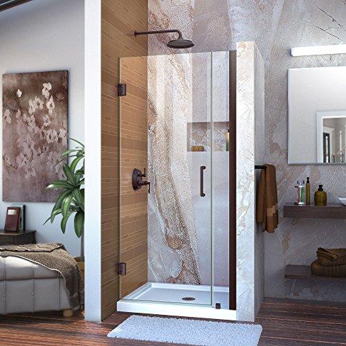 DreamLine Unidoor 32-33 in. W x 72 in. H Frameless Hinged Shower Door in Oil Rubbed Bronze, SHDR-20327210-06
