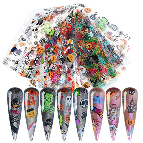 JFHGNJ Nagelstickers 10 Stks/Pack Nagelfolies Halloween Serie Kleurrijke pompoen Transfer Nagelstickers Stickers Papier Diy Striping Nagel Art Decoraties