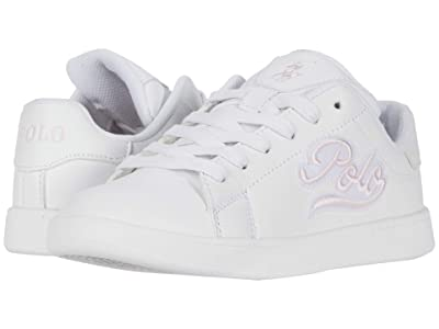 Polo Ralph Lauren Kids Gaige (Little Kid) (White Smooth/Light Pink Polo Script/Polo Print) Girls Shoes