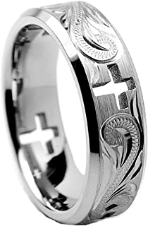 Men's 7MM Titanium Ring Wedding Band with Cross Cut Out and Engraved Floral Design Sizes 6 to 13