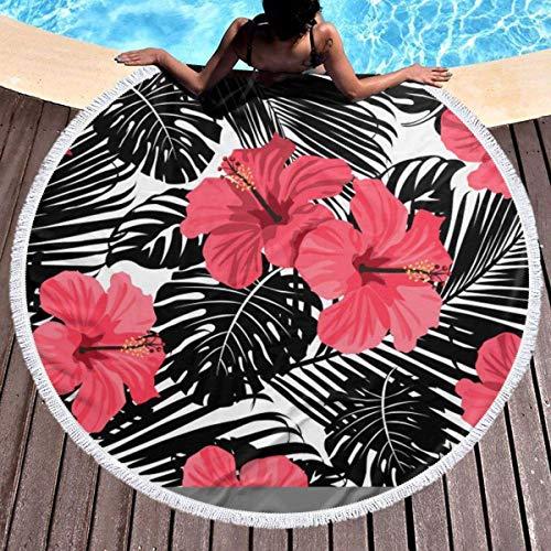 Rundes Strandtuch, rote Hibiskusblüte Hippie Happy Youth Handtuch Extra große sandfeste Decke Yogamatte mit Quasten 59 '
