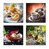 Küchen Bilder Set A schwebend, 4-teiliges Bilder-Set jedes