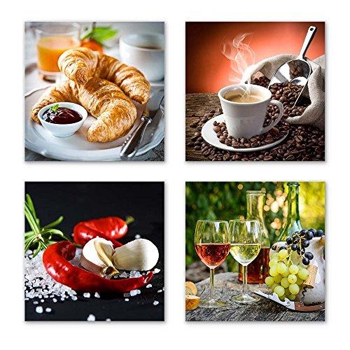 Küchen Bilder Set A schwebend, 4-teiliges Bilder-Set jedes Teil 29x29cm, Seidenmatte Optik auf Forex, moderne Optik, UV-stabil, wasserfest, Kunstdruck für Büro, Wohnzimmer, Deko Bild, Kaffee Obst Wein