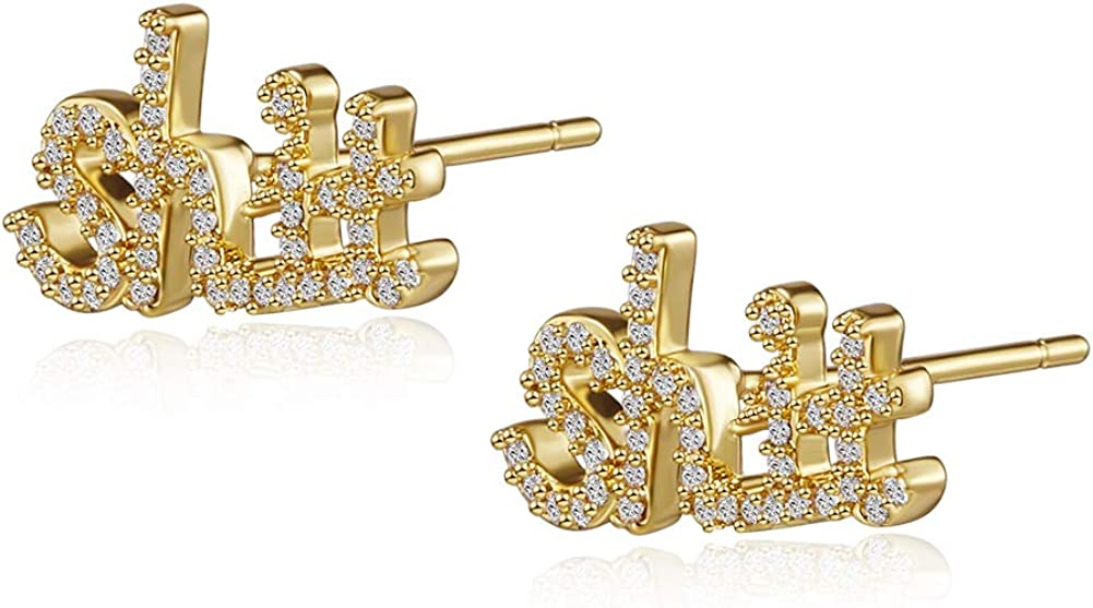 EXGOX 18K Gold Quantity limited Plated Letter Hypoallergenic Cubic Earring Chicago Mall Zircon