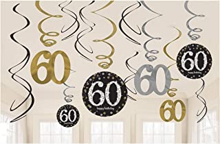 amscan Sparkling Celebration 60 Value Pack Foil Swirl Decorations, Party Supplies, Multicolor, One Size, 12ct