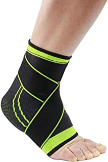 CapsA Ankle Brace Adjustable Breathable Ankle Support with Elastic Fabric Compression Ankle Wrap for Sports Protect Ankle Sprain Plantar Fasciitis One Size Fits All Men Women