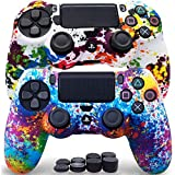 Sofunii 2pcs Camo Skin for PS4 Controller, Anti-Slip Silicone Cover Shell Case with 8 Thumb Grip Caps, Compatible with PlaySation 4 Slim/Pro Controller DualShock 4 Wireless/Wired Gamepad (Rainbow)