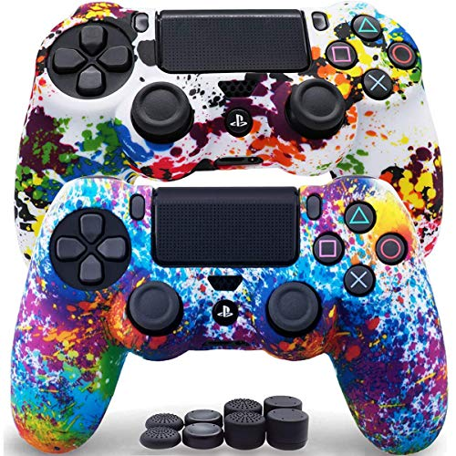 Sofunii 2pcs Camo Skin for PS4 Controller, Anti-Slip Silicone Protector Cover Shell Case with 8 Thumb Grip Caps, Compatible with PlaySation 4 Slim/Pro Controller DualShock 4 Wireless/Wired Gamepad