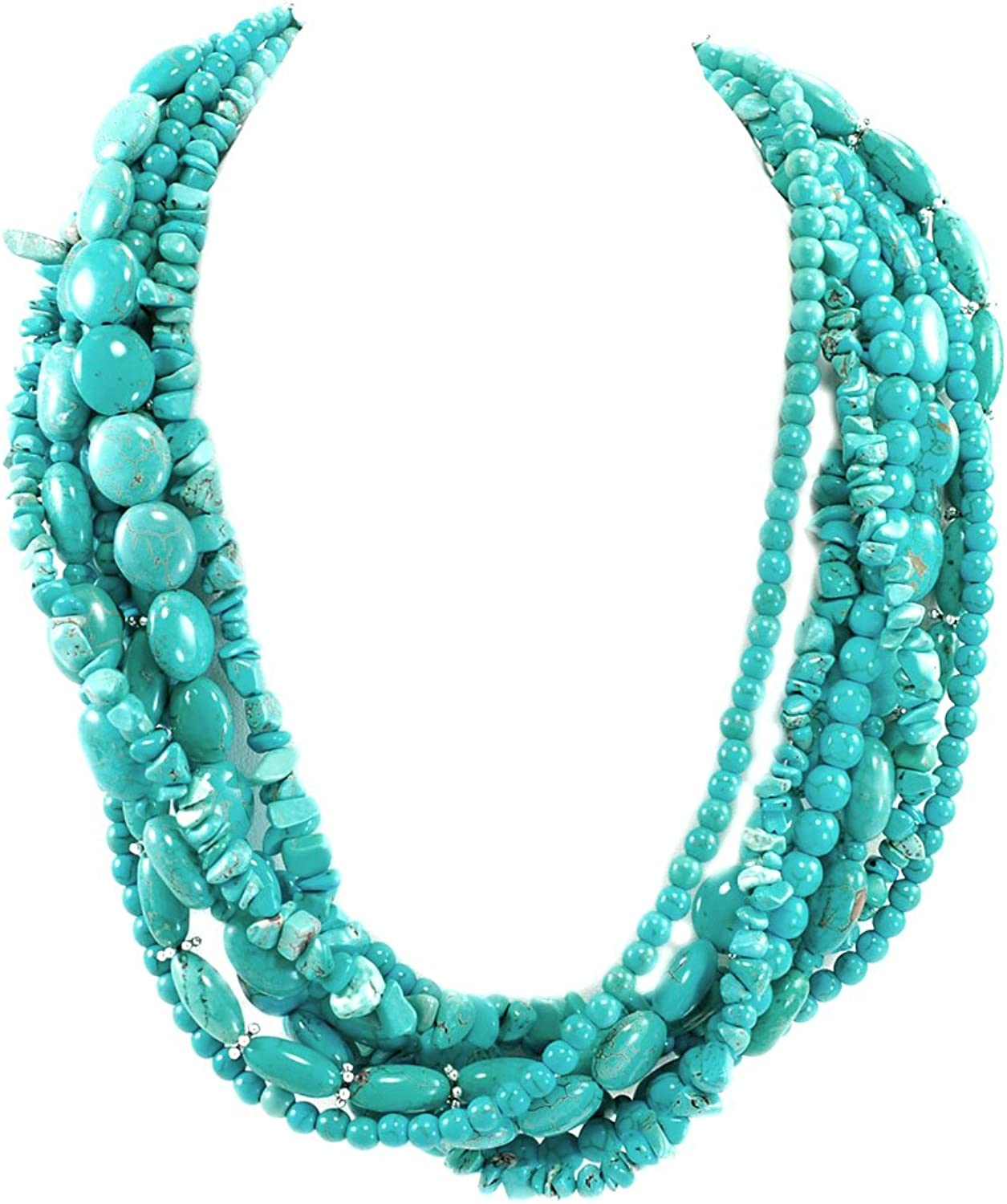 001 Multistrands bluee Magnesite Turquoise Beads Huge Necklace w Silver Plate.
