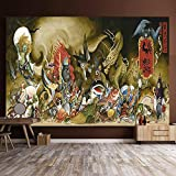Tapestry Wall Hanging Night of Ghosts Cento, Giapponese Tattoo Studio Bar Ristorante Dormitorio Decorazioni Hanging Cloth Parete 0717 (Size : 150×150cm)
