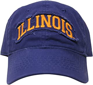 RobsTees Signatures University of Illinois Fighting Illini White Distress College Dad Hat Baseball Cap