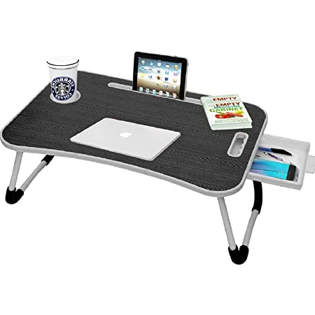 Callas Multipurpose Foldable Laptop Table with Cup Holder | Drawer | Mac Holder | Table Holder Study Table, Breakfast Table, Foldable and Portable/Ergonomic & Rounded Edges/Non-Slip Legs (WA-27-Black)